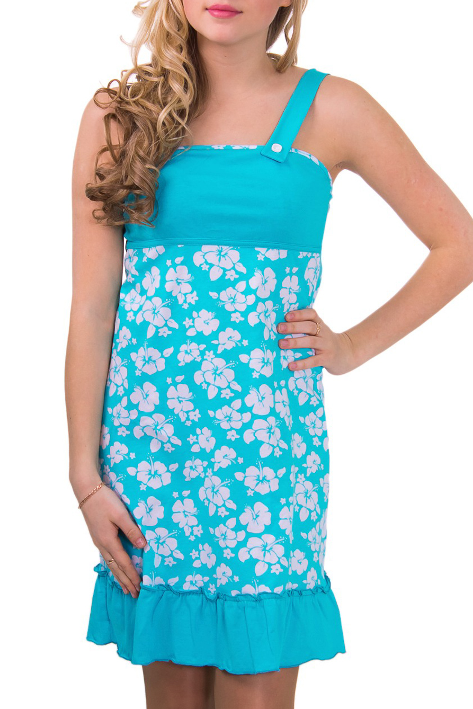 СорочкаНочные сорочки<br>Женская сорочка без рукавов. Домашняя одежда, прежде всего, должна быть удобной, практичной и красивой. В сорочке Вы будете чувствовать себя комфортно, особенно, по вечерам после трудового дня.  Цвет: голубой с белым  Рост девушки-фотомодели 164 см<br><br>По рисунку: Растительные мотивы,Цветные,Цветочные,С принтом<br>По силуэту: Свободные<br>По форме: Сорочки<br>По элементам: Без рукавов<br>По сезону: Всесезон<br>По длине: До колена<br>По материалу: Хлопок<br>По стилю: Повседневный стиль<br>Размер : 42<br>Материал: Хлопок<br>Количество в наличии: 1