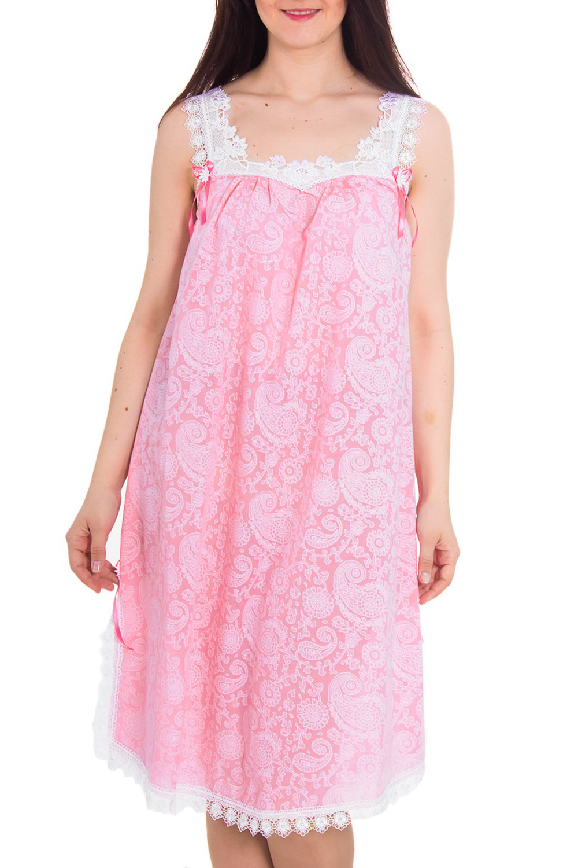 СорочкаНочные сорочки<br>Великолепная ночная сорочка из нежной вискозы с декором из гипюра.  Цвет: розовый, белый  Рост девушки-фотомодели 180 см<br><br>По материалу: Кружево,Хлопок<br>По рисунку: Абстракция,Цветные,С принтом<br>По форме: Сорочки<br>По элементам: Без рукавов<br>По длине: До колена<br>По стилю: Молодежный стиль,Повседневный стиль<br>Размер : 50<br>Материал: Вискоза<br>Количество в наличии: 2