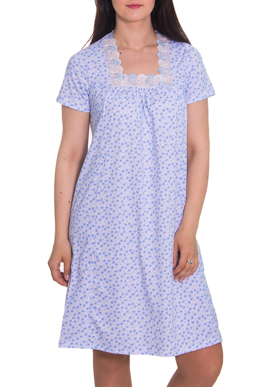 СорочкаНочные сорочки<br>Домашняя одежда, прежде всего, должна быть удобной, практичной и красивой. В ночной сорочке Вы будете чувствовать себя комфортно, особенно, по вечерам после трудового дня.  Цвет: голубой  Рост девушки-фотомодели 180 см<br><br>По рисунку: Цветные,С принтом<br>По форме: Сорочки<br>По сезону: Всесезон<br>По длине: До колена<br>По материалу: Хлопок<br>По стилю: Повседневный стиль<br>Размер : 48<br>Материал: Хлопок<br>Количество в наличии: 1