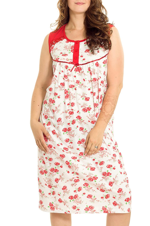 Ночная сорочкаНочные сорочки<br>Удобная хлопковая сорочка. Домашняя одежда, прежде всего, должна быть удобной, практичной и красивой. В нашей домашней одежде Вы будете чувствовать себя комфортно, особенно, по вечерам после трудового дня.  В изделии использованы цвета: белый, красный, зеленый  Рост девушки-фотомодели 180 см.<br><br>Горловина: С- горловина<br>По рисунку: Растительные мотивы,Цветные,Цветочные,С принтом<br>По силуэту: Приталенные<br>По форме: Сорочки<br>По элементам: Без рукавов<br>По сезону: Всесезон<br>По длине: До колена<br>По материалу: Хлопок<br>По стилю: Повседневный стиль<br>Размер : 52,54,56<br>Материал: Хлопок<br>Количество в наличии: 3
