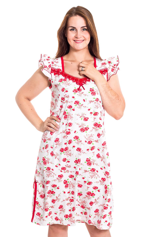 Ночная сорочкаНочные сорочки<br>Качественная ночная сорочка без рукавов. Домашняя одежда, прежде всего, должна быть удобной, практичной и красивой. В наших изделиях Вы будете чувствовать себя комфортно, особенно, по вечерам после трудового дня.  В изделии использованы цвета: белый, красный  Рост девушки-фотомодели 180 см<br><br>По материалу: Хлопковые<br>По рисунку: Растительные мотивы,С принтом (печатью),Цветные,Цветочные<br>По стилю: Повседневные<br>По форме: Сорочки<br>По элементам: Без рукавов,С оборками<br>По сезону: Всесезон<br>Размер : 52,54,56,58<br>Материал: Хлопок<br>Количество в наличии: 4