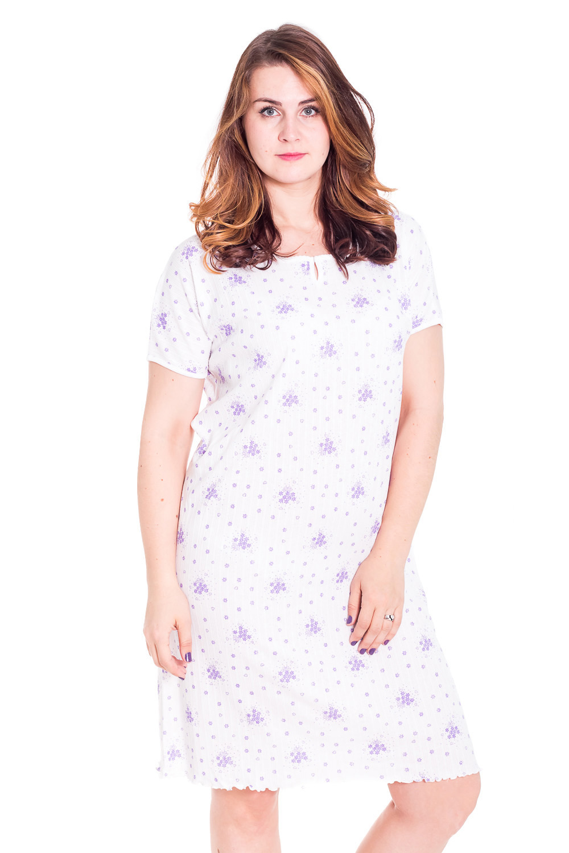 СорочкаНочные сорочки<br>Ночная сорочка с короткими рукавами. Домашняя одежда, прежде всего, должна быть удобной, практичной и красивой. В наших изделиях Вы будете чувствовать себя комфортно, особенно, по вечерам после трудового дня.  Цвет: белый, фиолетовый  Рост девушки-фотомодели 180 см<br><br>Горловина: С- горловина<br>По материалу: Трикотажные,Хлопковые<br>По рисунку: Цветные,С принтом<br>По силуэту: Свободные<br>По стилю: Скромные<br>По сезону: Всесезон<br>По длине: До колена<br>Размер : 52,56<br>Материал: Хлопок<br>Количество в наличии: 7