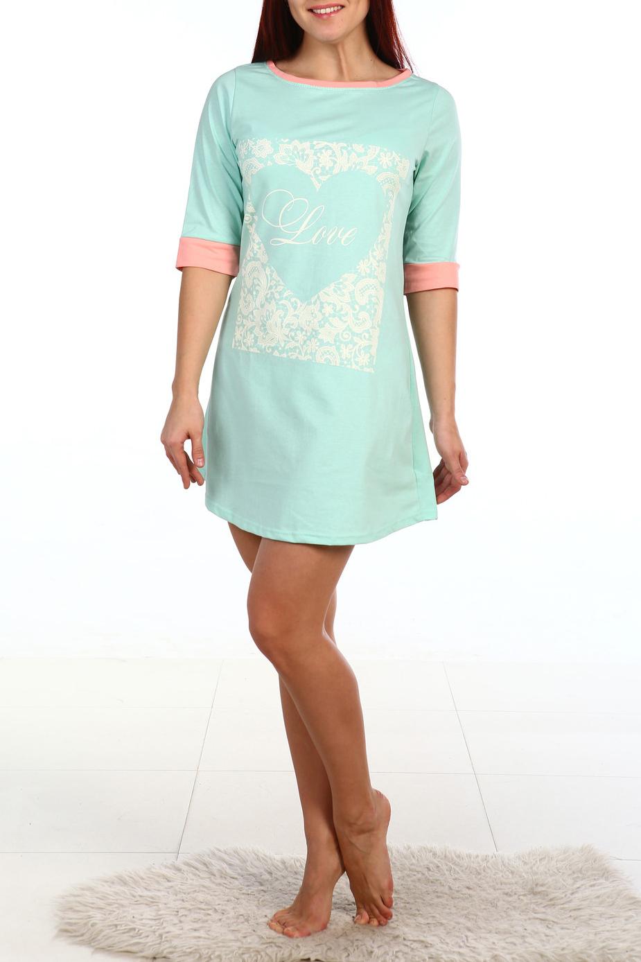 СорочкаНочные сорочки<br>Ночная сорочка с рукавами 3/4. Домашняя одежда, прежде всего, должна быть удобной, практичной и красивой. В наших изделиях Вы будете чувствовать себя комфортно, особенно, по вечерам после трудового дня.  В изделии использованы цвета: голубой, белый и др.  Ростовка изделия 170 см.<br><br>Горловина: С- горловина<br>По длине: До колена<br>По материалу: Трикотаж,Хлопок<br>По рисунку: С принтом,Цветные<br>По силуэту: Свободные<br>По стилю: Повседневный стиль<br>По форме: Сорочки<br>По сезону: Всесезон<br>Размер : 52<br>Материал: Трикотаж<br>Количество в наличии: 1