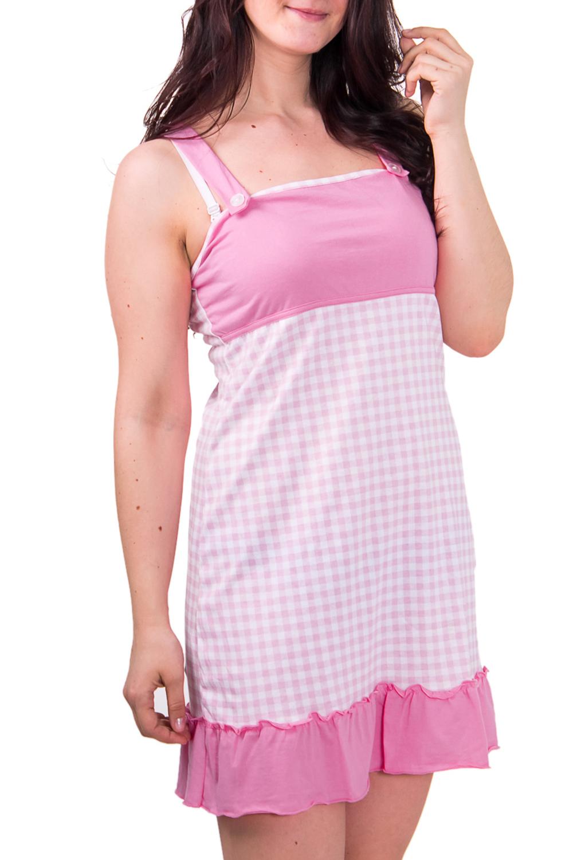 СорочкаНочные сорочки<br>Женская сорочка без рукавов. Домашняя одежда, прежде всего, должна быть удобной, практичной и красивой. В сорочке Вы будете чувствовать себя комфортно, особенно, по вечерам после трудового дня.  Цвет: розовый с белым  Рост девушки-фотомодели 180 см<br><br>По рисунку: Геометрия,Цветные,В клетку<br>По силуэту: Свободные<br>По форме: Сорочки<br>По элементам: Без рукавов<br>По сезону: Всесезон<br>По длине: До колена<br>По материалу: Хлопок<br>По стилю: Повседневный стиль<br>Размер : 46<br>Материал: Хлопок<br>Количество в наличии: 1