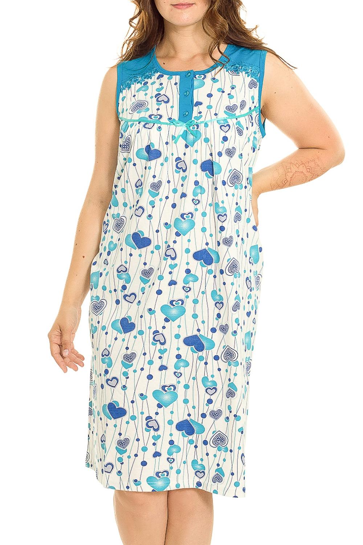 Ночная сорочкаНочные сорочки<br>Удобная хлопковая сорочка. Домашняя одежда, прежде всего, должна быть удобной, практичной и красивой. В нашей домашней одежде Вы будете чувствовать себя комфортно, особенно, по вечерам после трудового дня.  В изделии использованы цвета: белый, голубой, синий  Рост девушки-фотомодели 180 см.<br><br>Горловина: С- горловина<br>По рисунку: Цветные,С принтом<br>По силуэту: Приталенные<br>По форме: Сорочки<br>По элементам: Без рукавов<br>По сезону: Всесезон<br>По длине: До колена<br>По материалу: Хлопок<br>По стилю: Повседневный стиль<br>Размер : 52,56<br>Материал: Хлопок<br>Количество в наличии: 2