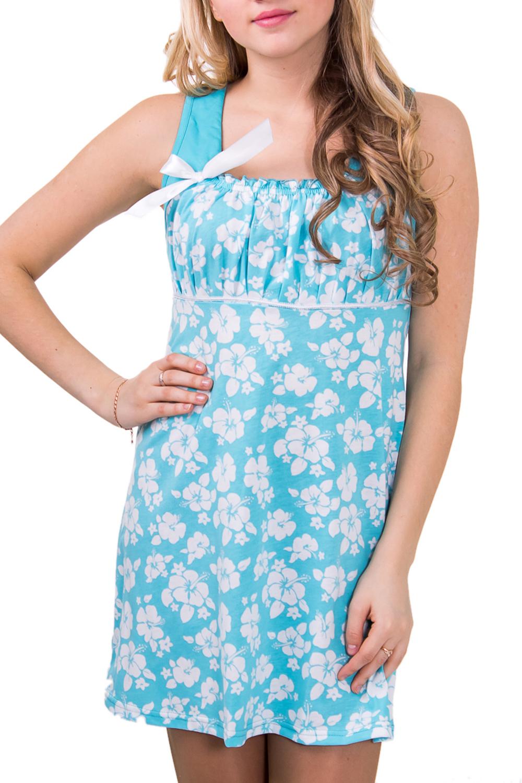 СорочкаНочные сорочки<br>Женская сорочка без рукавов. Домашняя одежда, прежде всего, должна быть удобной, практичной и красивой. В сорочке Вы будете чувствовать себя комфортно, особенно, по вечерам после трудового дня.  Цвет: голубой с белым  Рост девушки-фотомодели 164 см<br><br>По рисунку: Цветные,С принтом<br>По силуэту: Свободные<br>По форме: Сорочки<br>По элементам: Без рукавов<br>По сезону: Лето<br>По материалу: Хлопок<br>По стилю: Повседневный стиль<br>Размер : 46<br>Материал: Хлопок<br>Количество в наличии: 1