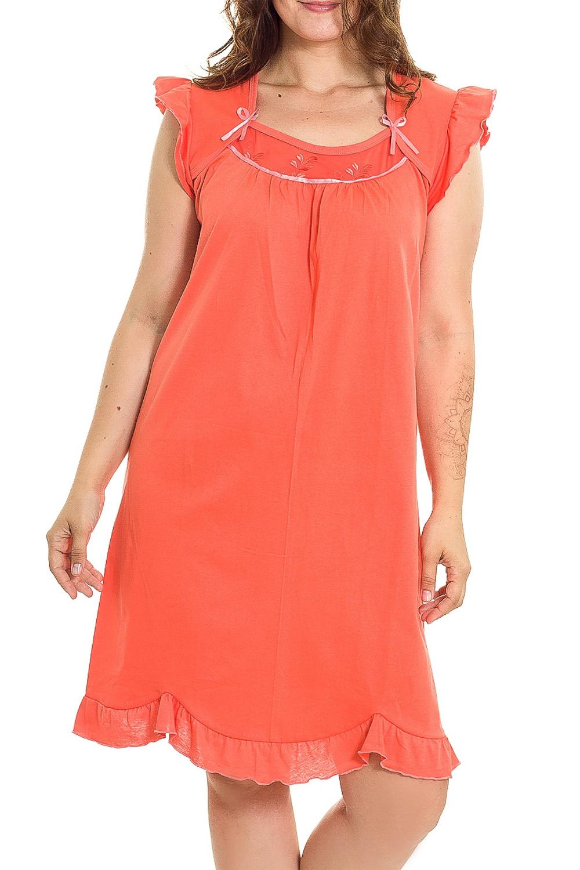 Ночная сорочкаНочные сорочки<br>Удобная хлопковая сорочка. Домашняя одежда, прежде всего, должна быть удобной, практичной и красивой. В нашей домашней одежде Вы будете чувствовать себя комфортно, особенно, по вечерам после трудового дня.  Цвет: оранжевый  Рост девушки-фотомодели 180 см.<br><br>По рисунку: Однотонные<br>По силуэту: Приталенные<br>По форме: Сорочки<br>По элементам: Без рукавов<br>По сезону: Всесезон<br>По длине: До колена<br>По материалу: Хлопок<br>По стилю: Повседневный стиль<br>Размер : 44,46<br>Материал: Хлопок<br>Количество в наличии: 2