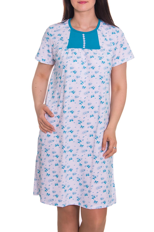 СорочкаНочные сорочки<br>Домашняя одежда, прежде всего, должна быть удобной, практичной и красивой. В ночной сорочке Вы будете чувствовать себя комфортно, особенно, по вечерам после трудового дня.  Цвет: белый, голубой  Рост девушки-фотомодели 180 см<br><br>По рисунку: Цветные,Цветочные,С принтом<br>По форме: Сорочки<br>Горловина: С- горловина<br>По сезону: Всесезон<br>По длине: До колена<br>По материалу: Хлопок<br>По стилю: Повседневный стиль<br>Размер : 52<br>Материал: Хлопок<br>Количество в наличии: 2