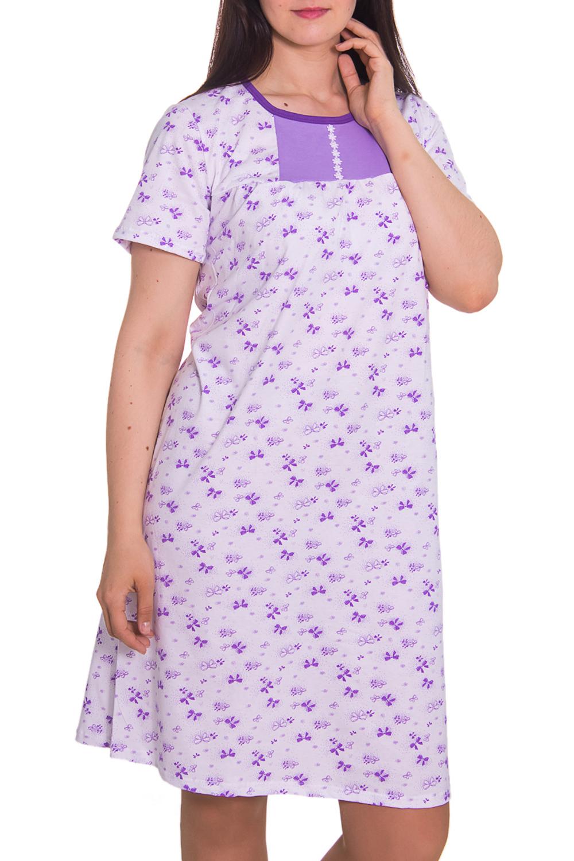 СорочкаНочные сорочки<br>Домашняя одежда, прежде всего, должна быть удобной, практичной и красивой. В ночной сорочке Вы будете чувствовать себя комфортно, особенно, по вечерам после трудового дня.  Цвет: белый, сиреневый  Рост девушки-фотомодели 180 см<br><br>По рисунку: Растительные мотивы,Цветные,С принтом<br>По форме: Сорочки<br>По сезону: Всесезон<br>По длине: До колена<br>По материалу: Хлопок<br>По стилю: Повседневный стиль<br>Размер : 52<br>Материал: Хлопок<br>Количество в наличии: 2