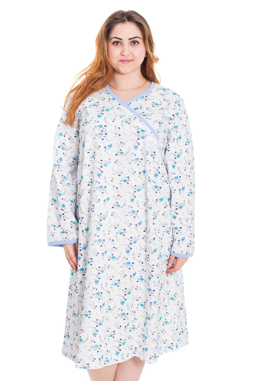 СорочкаНочные сорочки<br>Ночная сорочка с длинными рукавами. Домашняя одежда, прежде всего, должна быть удобной, практичной и красивой. В нашей домашней одежде Вы будете чувствовать себя комфортно, особенно, по вечерам после трудового дня.  Цвет: белый, голубой  Рост девушки-фотомодели 169 см<br><br>Горловина: V- горловина<br>По длине: Миди<br>По материалу: Трикотажные,Хлопковые<br>По рисунку: Растительные мотивы,Цветные,Цветочные<br>По силуэту: Свободные<br>По стилю: Повседневные<br>По форме: Сорочки<br>По сезону: Зима<br>Размер : 48,50,62<br>Материал: Трикотаж<br>Количество в наличии: 2