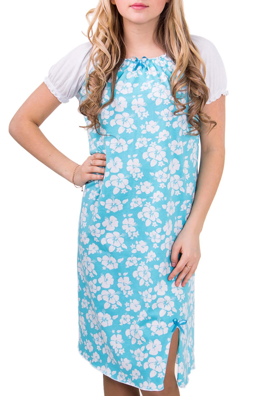 СорочкаНочные сорочки<br>Очень удобная сорочка, свободный крой, короткий рукав. Домашняя одежда, прежде всего, должна быть удобной, практичной и красивой. В сорочке Вы будете чувствовать себя комфортно, особенно, по вечерам после трудового дня.  Цвет: белый с голубым  Рост девушки-фотомодели 164 см<br><br>Горловина: С- горловина<br>По рисунку: Растительные мотивы,Цветные,Цветочные,С принтом<br>По силуэту: Свободные<br>По форме: Сорочки<br>По сезону: Осень,Весна<br>По длине: До колена<br>По материалу: Хлопок<br>По стилю: Повседневный стиль<br>Размер : 44,46,48<br>Материал: Хлопок<br>Количество в наличии: 4