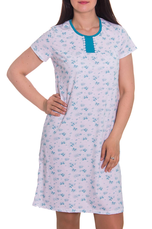 СорочкаНочные сорочки<br>Домашняя одежда, прежде всего, должна быть удобной, практичной и красивой. В ночной сорочке Вы будете чувствовать себя комфортно, особенно, по вечерам после трудового дня.  Цвет: белый, голубой  Рост девушки-фотомодели 180 см<br><br>Горловина: С- горловина<br>По рисунку: Растительные мотивы,Цветные,Цветочные,С принтом<br>По форме: Сорочки<br>По сезону: Всесезон<br>По длине: До колена<br>По материалу: Хлопок<br>По стилю: Повседневный стиль<br>Размер : 48,58<br>Материал: Хлопок<br>Количество в наличии: 4