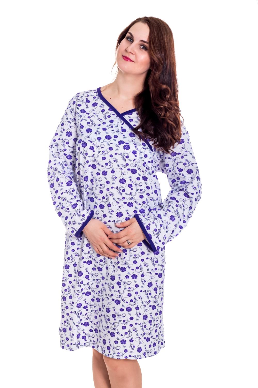 СорочкаНочные сорочки<br>Хлопковая ночная сорочка. Домашняя одежда, прежде всего, должна быть удобной, практичной и красивой. В нашей домашней одежде Вы будете чувствовать себя комфортно, особенно, по вечерам после трудового дня.  Цвет: белый, фиолетовый  Рост девушки-фотомодели 180 см<br><br>Горловина: V- горловина<br>По длине: Миди<br>По материалу: Трикотажные,Хлопковые<br>По рисунку: Растительные мотивы,С принтом (печатью),Цветные,Цветочные<br>По стилю: Повседневные<br>По сезону: Зима<br>Размер : 52,62<br>Материал: Хлопок<br>Количество в наличии: 1