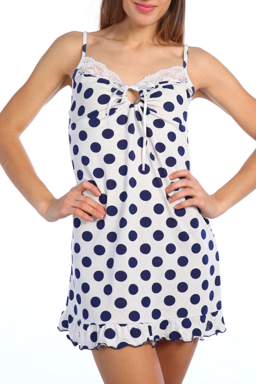 СорочкаНочные сорочки<br>Качественная ночная сорочка. Домашняя одежда, прежде всего, должна быть удобной, практичной и красивой. В наших изделиях Вы будете чувствовать себя комфортно, особенно, по вечерам после трудового дня.  Цвет: белый, синий  Ростовка 158-164 см.<br><br>По стилю: Повседневные<br>По материалу: Вискоза<br>По рисунку: В горошек,С принтом (печатью),Цветные<br>По сезону: Всесезон<br>По силуэту: Приталенные<br>По элементам: Без рукавов<br>По форме: Сорочки<br>По длине: Мини<br>Размер: 48,50<br>Материал: 95% вискоза 5% полиэстер<br>Количество в наличии: 2