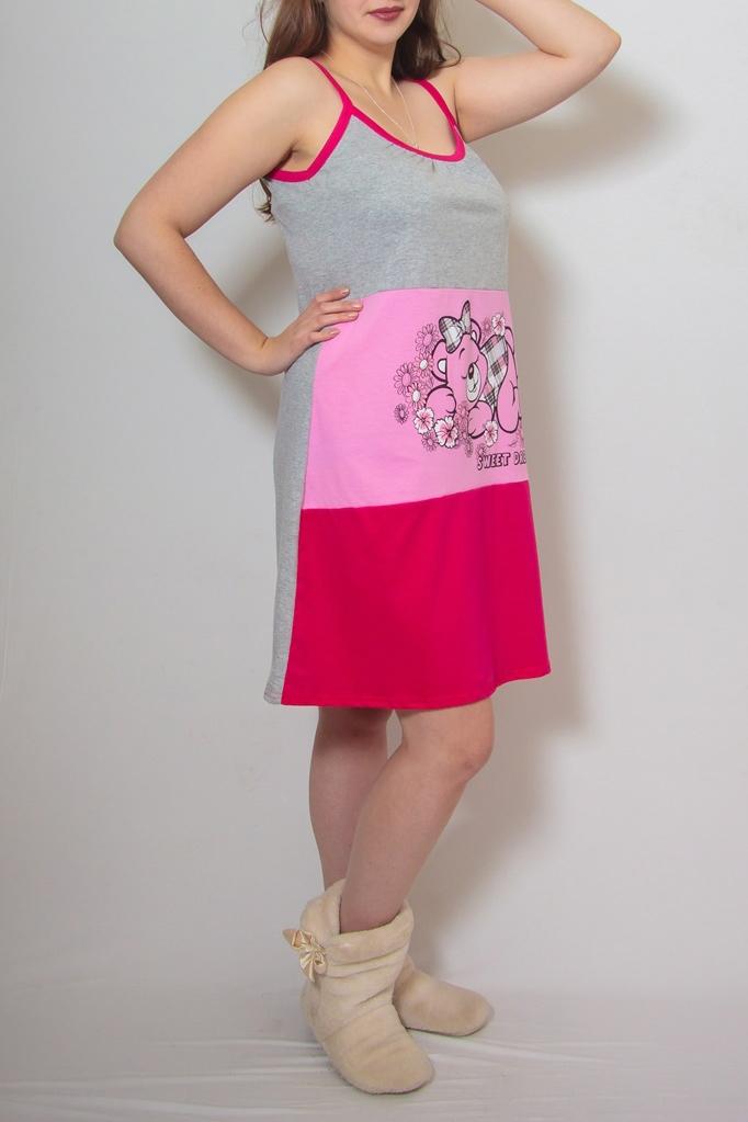 СорочкаНочные сорочки<br>Уютная ночная сорочка. Домашняя одежда, прежде всего, должна быть удобной, практичной и красивой. В наших изделиях Вы будете чувствовать себя комфортно, особенно, по вечерам после трудового дня.  В изделии использованы цвета: серый, розовый и др.  Ростовка изделия 164 см<br><br>По длине: До колена<br>По материалу: Хлопок<br>По рисунку: Цветные<br>По стилю: Повседневный стиль<br>По элементам: Без рукавов<br>По сезону: Всесезон<br>Размер : 48,50,54<br>Материал: Трикотаж<br>Количество в наличии: 4