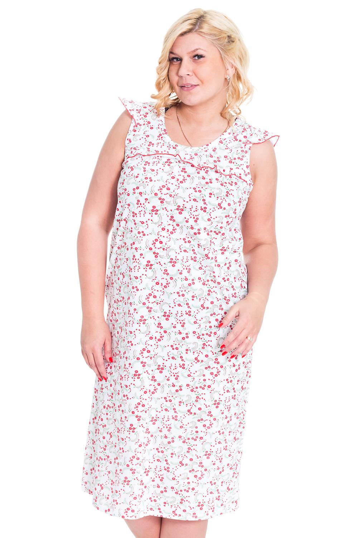 СорочкаНочные сорочки<br>Классическая сорочка без рукавов. Домашняя одежда, прежде всего, должна быть удобной, практичной и красивой. В сорочке Вы будете чувствовать себя комфортно, особенно, по вечерам после трудового дня.  Цвет: белый, розовый  Рост девушки-фотомодели 170 см.<br><br>Горловина: С- горловина<br>По рисунку: Растительные мотивы,Цветные,Цветочные<br>По силуэту: Свободные<br>По форме: Сорочки<br>По элементам: Без рукавов<br>По сезону: Всесезон<br>По длине: До колена<br>По материалу: Трикотаж,Хлопок<br>По стилю: Повседневный стиль<br>Размер : 46-48<br>Материал: Трикотаж<br>Количество в наличии: 2