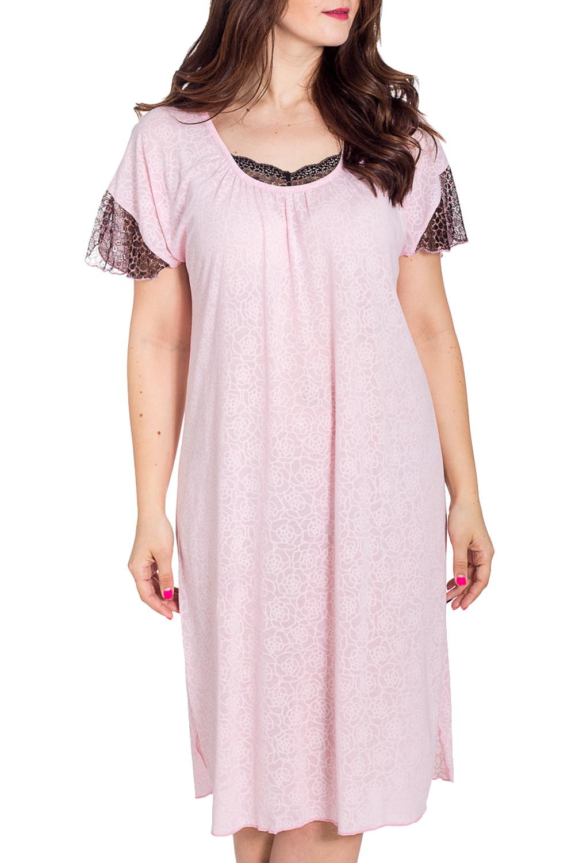 СорочкаНочные сорочки<br>Уютная ночная сорочка из мягкой вискозы. Домашняя одежда, прежде всего, должна быть удобной, практичной и красивой. В наших изделиях Вы будете чувствовать себя комфортно, особенно, по вечерам после трудового дня.  В изделии использованы цвета: розовый, черный  Рост девушки-фотомодели 180 см.<br><br>Горловина: С- горловина<br>По длине: Ниже колена<br>По материалу: Вискоза<br>По рисунку: Однотонные,С принтом,Цветные<br>По стилю: Повседневный стиль<br>По форме: Сорочки<br>По элементам: С декором,С разрезом<br>По сезону: Всесезон<br>Размер : 52,56,58<br>Материал: Вискоза + Гипюр<br>Количество в наличии: 3