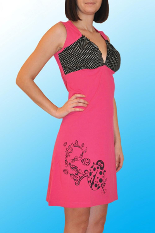 СорочкаНочные сорочки<br>Хлопковая ночная сорочка. Домашняя одежда, прежде всего, должна быть удобной, практичной и красивой. В нашей домашней одежде Вы будете чувствовать себя комфортно, особенно, по вечерам после трудового дня.  Цвет: розовый, черный  Ростовка изделия 170 см.<br><br>Горловина: V- горловина<br>По рисунку: В горошек,Цветные,С принтом<br>По силуэту: Приталенные<br>По форме: Сорочки<br>По элементам: Без рукавов<br>По сезону: Всесезон<br>По длине: До колена<br>По материалу: Хлопок<br>По стилю: Повседневный стиль<br>Размер : 50,52,54,56<br>Материал: Хлопок<br>Количество в наличии: 6