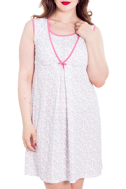 Ночная сорочкаНочные сорочки<br>Нежнейшая сорочка без рукавов прекрасно подойдет для беременных и кормящих мам, так и для повседневного использования. 100% хлопок комфортен при любой температуре помещения. Отсутствие рукава дает свободу движений. Модель имеет V-образный вырез, под которым спрятан внутренний топ.  Цвет: белый, розовый и др.  Рост девушки-фотомодели 180 см<br><br>Горловина: V- горловина,Запах<br>По рисунку: Растительные мотивы,Цветные,Цветочные,С принтом<br>По элементам: Без рукавов<br>По сезону: Всесезон<br>По материалу: Хлопок<br>По стилю: Повседневный стиль<br>Размер : 46,48,50,52<br>Материал: Хлопок<br>Количество в наличии: 4