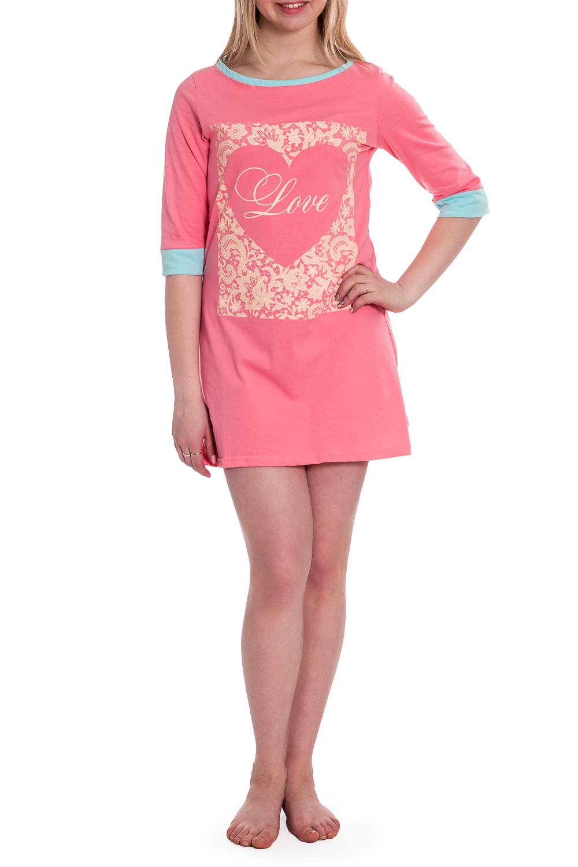 СорочкаНочные сорочки<br>Ночная сорочка с рукавами 3/4. Домашняя одежда, прежде всего, должна быть удобной, практичной и красивой. В наших изделиях Вы будете чувствовать себя комфортно, особенно, по вечерам после трудового дня.  В изделии использованы цвета: розовый, голубой и др.  Рост девушки-фотомодели 170 см.<br><br>Горловина: С- горловина<br>По длине: До колена<br>По материалу: Трикотаж,Хлопок<br>По рисунку: С принтом,Цветные<br>По силуэту: Свободные<br>По стилю: Повседневный стиль<br>По форме: Сорочки<br>По сезону: Всесезон<br>Размер : 44,46,48<br>Материал: Трикотаж<br>Количество в наличии: 3