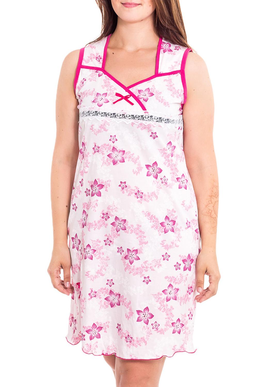 Ночная сорочкаНочные сорочки<br>Качественная ночная сорочка без рукавов. Домашняя одежда, прежде всего, должна быть удобной, практичной и красивой. В наших изделиях Вы будете чувствовать себя комфортно, особенно, по вечерам после трудового дня.  В изделии использованы цвета: белый, розовый  Рост девушки-фотомодели 180 см<br><br>По рисунку: Цветные,Цветочные,С принтом<br>По форме: Сорочки<br>По элементам: Без рукавов,С разрезом<br>По сезону: Всесезон<br>По материалу: Хлопок<br>По стилю: Повседневный стиль<br>Размер : 44,46,48,50,52<br>Материал: Хлопок<br>Количество в наличии: 6