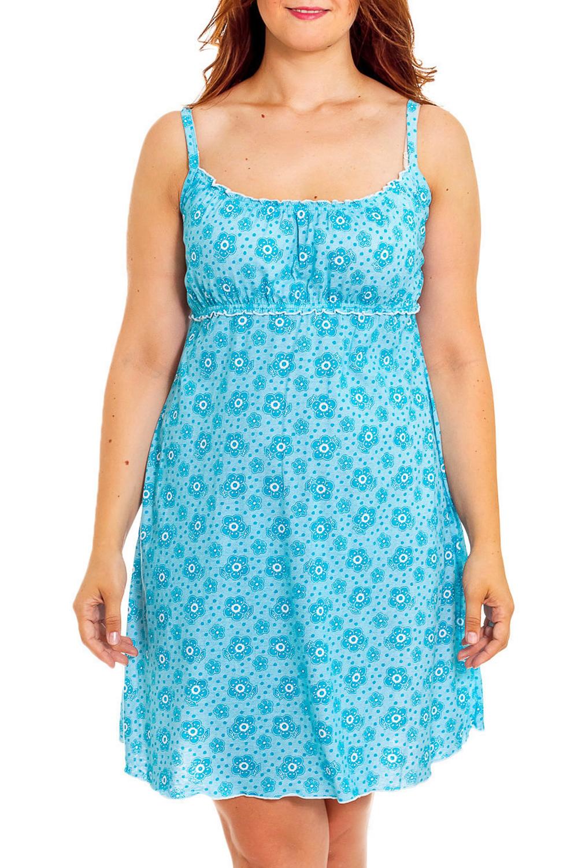 Ночная сорочкаНочные сорочки<br>Чудесная, женская ночная сорочка с завышенной линией талии.  Цвет: голубой.  Рост девушки-фотомодели 180 см<br><br>Горловина: С- горловина<br>По материалу: Хлопковые<br>По рисунку: Растительные мотивы,С принтом (печатью),Цветные,Цветочные<br>По силуэту: Приталенные<br>По элементам: Без рукавов,С декором<br>По сезону: Всесезон<br>Размер : 42,46,50<br>Материал: Хлопок<br>Количество в наличии: 3