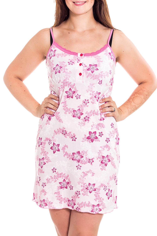 Ночная сорочкаНочные сорочки<br>Качественная ночная сорочка на тонких бретелях. Домашняя одежда, прежде всего, должна быть удобной, практичной и красивой. В наших изделиях Вы будете чувствовать себя комфортно, особенно, по вечерам после трудового дня.  В изделии использованы цвета: белый, розовый  Рост девушки-фотомодели 180 см<br><br>Горловина: С- горловина<br>По рисунку: Цветные,Цветочные,С принтом<br>По форме: Сорочки<br>По сезону: Всесезон<br>По материалу: Хлопок<br>По стилю: Повседневный стиль<br>Размер : 48<br>Материал: Хлопок<br>Количество в наличии: 1