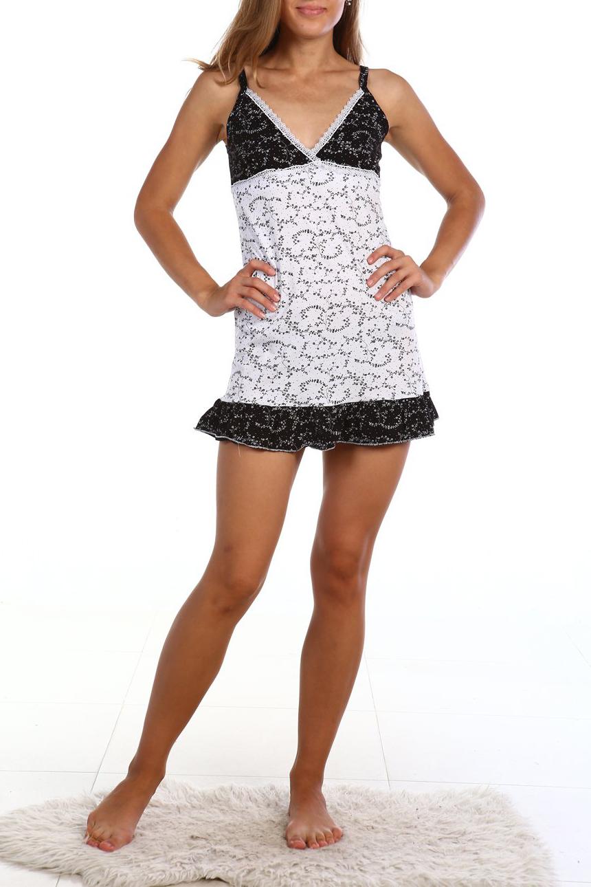 СорочкаНочные сорочки<br>Хлопковая ночная сорочка. Домашняя одежда, прежде всего, должна быть удобной, практичной и красивой. В нашей домашней одежде Вы будете чувствовать себя комфортно, особенно, по вечерам после трудового дня.  В изделии использованы цвета: белый, черный  Ростовка изделия 170 см.<br><br>Горловина: V- горловина<br>По длине: До колена<br>По материалу: Трикотаж,Хлопок<br>По рисунку: С принтом,Цветные<br>По стилю: Повседневный стиль<br>По форме: Сорочки<br>По элементам: С воланами и рюшами<br>По сезону: Всесезон<br>Размер : 42,44<br>Материал: Трикотаж<br>Количество в наличии: 2