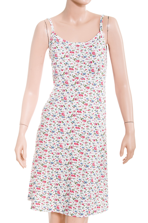 СорочкаНочные сорочки<br>Ночная сорочка без рукавов. Домашняя одежда, прежде всего, должна быть удобной, практичной и красивой. В нашей домашней одежде Вы будете чувствовать себя комфортно, особенно, по вечерам после трудового дня.  В изделии использованы цвета: белый, розовый, голубой<br><br>По рисунку: Растительные мотивы,Цветные,Цветочные,С принтом<br>По форме: Сорочки<br>По элементам: Без рукавов<br>По сезону: Всесезон<br>По материалу: Трикотаж,Хлопок<br>По стилю: Повседневный стиль<br>Размер : 48<br>Материал: Трикотаж<br>Количество в наличии: 1