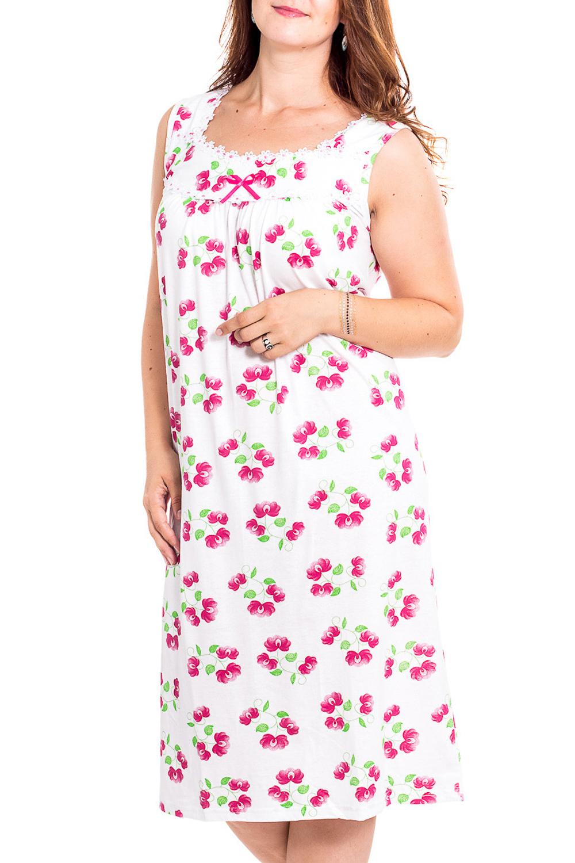 Ночная сорочкаНочные сорочки<br>Качественная ночная сорочка без рукавов. Домашняя одежда, прежде всего, должна быть удобной, практичной и красивой. В наших изделиях Вы будете чувствовать себя комфортно, особенно, по вечерам после трудового дня.  В изделии использованы цвета: белый, розовый и др.  Рост девушки-фотомодели 180 см<br><br>Горловина: С- горловина<br>По рисунку: Растительные мотивы,Цветные,Цветочные,С принтом<br>По силуэту: Свободные<br>По форме: Сорочки<br>По элементам: Без рукавов<br>По сезону: Всесезон<br>По длине: До колена<br>По материалу: Хлопок<br>По стилю: Повседневный стиль<br>Размер : 52<br>Материал: Хлопок<br>Количество в наличии: 1