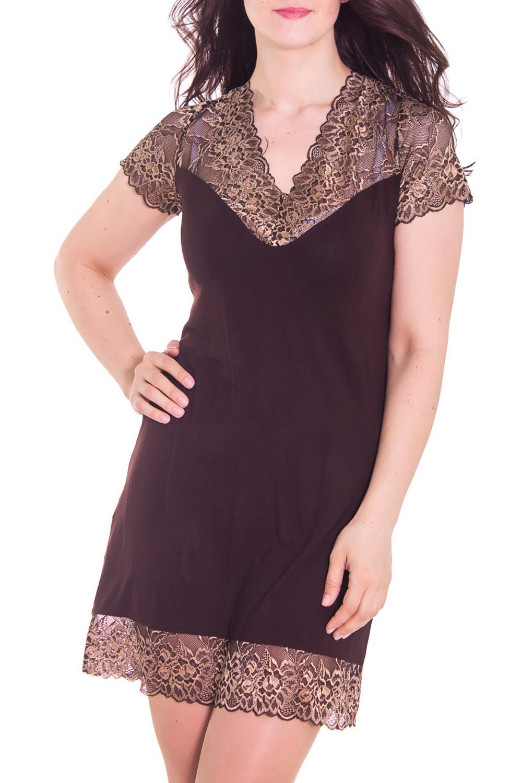 СорочкаНочные сорочки<br>Великолепная ночная сорочка из нежной вискозы с декором из гипюра.  Цвет: коричневый  Рост девушки-фотомодели 180 см<br><br>Горловина: V- горловина<br>По материалу: Вискоза<br>По рисунку: Однотонные<br>По форме: Сорочки<br>По длине: До колена<br>По стилю: Повседневный стиль<br>По элементам: С декором<br>По сезону: Всесезон<br>Размер : 44,48<br>Материал: Вискоза<br>Количество в наличии: 2