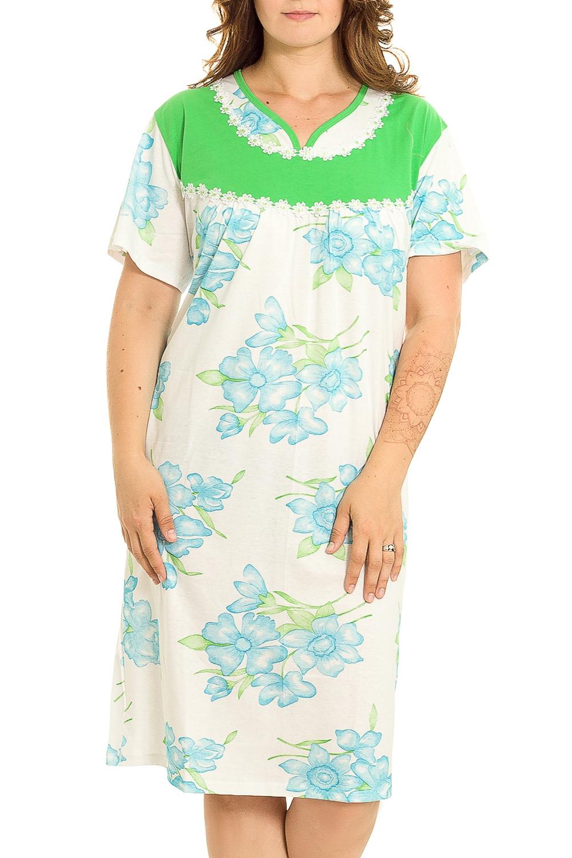 Ночная сорочкаНочные сорочки<br>Удобная хлопковая сорочка. Домашняя одежда, прежде всего, должна быть удобной, практичной и красивой. В нашей домашней одежде Вы будете чувствовать себя комфортно, особенно, по вечерам после трудового дня.  В изделии использованы цвета: белый, голубой, зеленый  Рост девушки-фотомодели 180 см.<br><br>Горловина: V- горловина<br>По рисунку: Растительные мотивы,Цветные,Цветочные,С принтом<br>По силуэту: Свободные<br>По форме: Сорочки<br>По сезону: Всесезон<br>По длине: До колена<br>По материалу: Хлопок<br>По стилю: Повседневный стиль<br>Размер : 58,60<br>Материал: Хлопок<br>Количество в наличии: 2