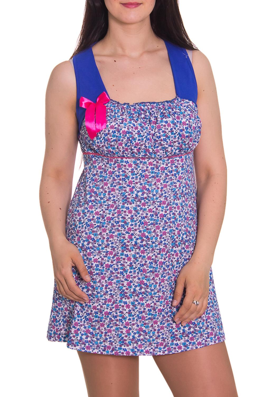 СорочкаНочные сорочки<br>Женская сорочка без рукавов. Домашняя одежда, прежде всего, должна быть удобной, практичной и красивой. В сорочке Вы будете чувствовать себя комфортно, особенно, по вечерам после трудового дня.  Цвет: синий, белый, розовый  Рост девушки-фотомодели 180 см<br><br>По рисунку: Растительные мотивы,Цветные,Цветочные,С принтом<br>По силуэту: Свободные<br>По форме: Сорочки<br>По элементам: Без рукавов,С декором<br>По сезону: Лето<br>По длине: До колена<br>По материалу: Хлопок<br>По стилю: Повседневный стиль<br>Размер : 46<br>Материал: Хлопок<br>Количество в наличии: 1