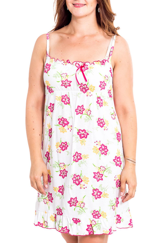 Ночная сорочкаНочные сорочки<br>Качественная ночная сорочка без рукавов. Домашняя одежда, прежде всего, должна быть удобной, практичной и красивой. В наших изделиях Вы будете чувствовать себя комфортно, особенно, по вечерам после трудового дня.  В изделии использованы цвета: белый, розовый и др.  Рост девушки-фотомодели 180 см<br><br>По рисунку: Растительные мотивы,Цветные,Цветочные,С принтом<br>По силуэту: Свободные<br>По форме: Сорочки<br>По сезону: Всесезон<br>По длине: До колена<br>По материалу: Хлопок<br>По стилю: Повседневный стиль<br>Размер : 44,46,52<br>Материал: Хлопок<br>Количество в наличии: 3