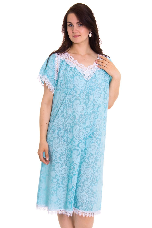 СорочкаНочные сорочки<br>Великолепная ночная сорочка из хлопка с декором из гипюра.  Цвет: голубой, белый  Рост девушки-фотомодели 180 см<br><br>Горловина: V- горловина<br>По длине: До колена<br>По материалу: Кружево,Хлопок<br>По рисунку: Однотонные,Цветочные<br>По стилю: Молодежный стиль,Повседневный стиль<br>По форме: Сорочки<br>По сезону: Всесезон<br>Размер : 74<br>Материал: Хлопок<br>Количество в наличии: 1