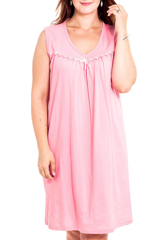 Ночная сорочкаНочные сорочки<br>Качественная ночная сорочка без рукавов. Домашняя одежда, прежде всего, должна быть удобной, практичной и красивой. В наших изделиях Вы будете чувствовать себя комфортно, особенно, по вечерам после трудового дня.  Цвет: розовый  Рост девушки-фотомодели 180 см<br><br>Горловина: V- горловина<br>По рисунку: Однотонные<br>По силуэту: Свободные<br>По форме: Сорочки<br>По сезону: Всесезон<br>По длине: До колена<br>По материалу: Хлопок<br>По стилю: Повседневный стиль<br>Размер : 46,48<br>Материал: Хлопок<br>Количество в наличии: 2