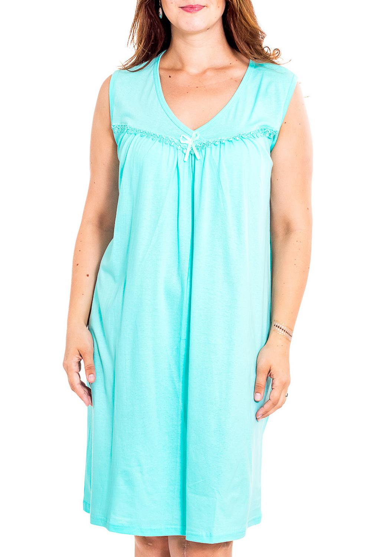 Ночная сорочкаНочные сорочки<br>Качественная ночная сорочка без рукавов. Домашняя одежда, прежде всего, должна быть удобной, практичной и красивой. В наших изделиях Вы будете чувствовать себя комфортно, особенно, по вечерам после трудового дня.  Цвет: голубой  Рост девушки-фотомодели 180 см<br><br>Горловина: V- горловина<br>По рисунку: Однотонные<br>По силуэту: Свободные<br>По форме: Сорочки<br>По элементам: Без рукавов<br>По сезону: Всесезон<br>По длине: До колена<br>По материалу: Хлопок<br>По стилю: Повседневный стиль<br>Размер : 50<br>Материал: Хлопок<br>Количество в наличии: 1