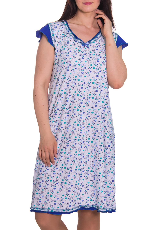 СорочкаНочные сорочки<br>Очень удобная сорочка, свободный крой, короткий рукав. Домашняя одежда, прежде всего, должна быть удобной, практичной и красивой. В сорочке Вы будете чувствовать себя комфортно, особенно, по вечерам после трудового дня.  Цвет: белый, синий  Рост девушки-фотомодели 180 см<br><br>Горловина: V- горловина<br>По рисунку: Растительные мотивы,Цветные,Цветочные,С принтом<br>По форме: Сорочки<br>По сезону: Осень,Весна<br>По силуэту: Приталенные<br>По длине: До колена<br>По материалу: Хлопок<br>По стилю: Повседневный стиль<br>По элементам: С воланами и рюшами<br>Размер : 48,50<br>Материал: Хлопок<br>Количество в наличии: 2
