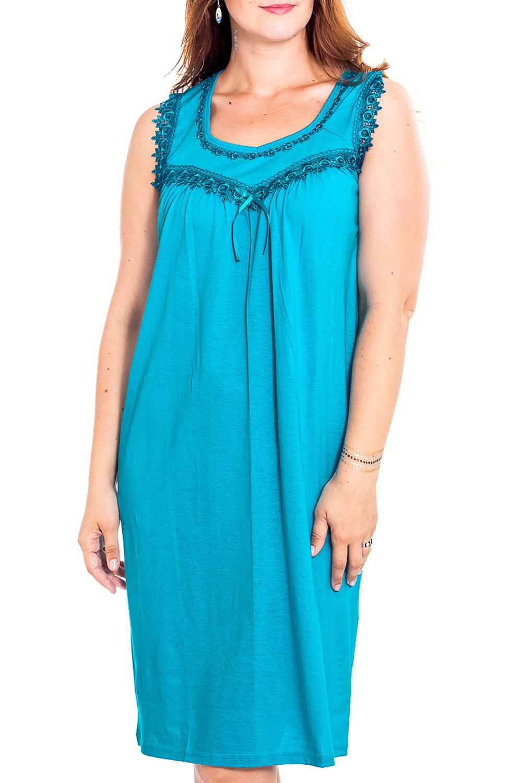 Ночная сорочкаНочные сорочки<br>Качественная ночная сорочка без рукавов. Домашняя одежда, прежде всего, должна быть удобной, практичной и красивой. В наших изделиях Вы будете чувствовать себя комфортно, особенно, по вечерам после трудового дня.  Цвет: голубой  Рост девушки-фотомодели 180 см<br><br>Горловина: V- горловина<br>По рисунку: Однотонные<br>По силуэту: Свободные<br>По форме: Сорочки<br>По сезону: Всесезон<br>По длине: До колена<br>По материалу: Хлопок<br>По стилю: Повседневный стиль<br>Размер : 46<br>Материал: Хлопок<br>Количество в наличии: 1