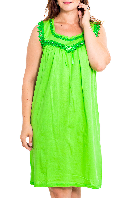 Ночная сорочкаНочные сорочки<br>Качественная ночная сорочка без рукавов. Домашняя одежда, прежде всего, должна быть удобной, практичной и красивой. В наших изделиях Вы будете чувствовать себя комфортно, особенно, по вечерам после трудового дня.  Цвет: салатовый  Рост девушки-фотомодели 180 см<br><br>Горловина: V- горловина<br>По рисунку: Однотонные<br>По силуэту: Свободные<br>По форме: Сорочки<br>По сезону: Всесезон<br>По длине: До колена<br>По материалу: Хлопок<br>По стилю: Повседневный стиль<br>Размер : 46,48<br>Материал: Хлопок<br>Количество в наличии: 2
