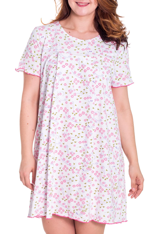 СорочкаНочные сорочки<br>Ночная сорочка с короткими рукавами. Домашняя одежда, прежде всего, должна быть удобной, практичной и красивой. В сорочке Вы будете чувствовать себя комфортно, особенно, по вечерам после трудового дня.  Цвет: белый, розовый  Рост девушки-фотомодели 180 см.<br><br>По рисунку: Цветные<br>По силуэту: Свободные<br>По сезону: Всесезон<br>По длине: Ниже колена<br>По материалу: Хлопок<br>По стилю: Повседневный стиль<br>Размер : 48<br>Материал: Хлопок<br>Количество в наличии: 1