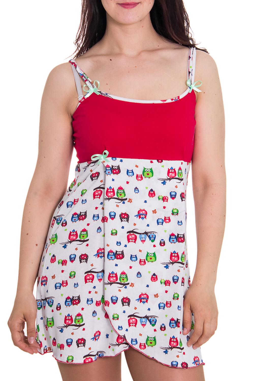 СорочкаНочные сорочки<br>Женская сорочка без рукавов. Домашняя одежда, прежде всего, должна быть удобной, практичной и красивой. В сорочке Вы будете чувствовать себя комфортно, особенно, по вечерам после трудового дня.  Цвет: белый, красный  Рост девушки-фотомодели 180 см<br><br>По рисунку: Цветные,С принтом<br>По форме: Сорочки<br>По элементам: Без рукавов,С декором,С разрезом<br>По сезону: Лето<br>По длине: До колена<br>По материалу: Хлопок<br>По стилю: Повседневный стиль<br>По силуэту: Приталенные<br>Размер : 44,48<br>Материал: Хлопок<br>Количество в наличии: 2