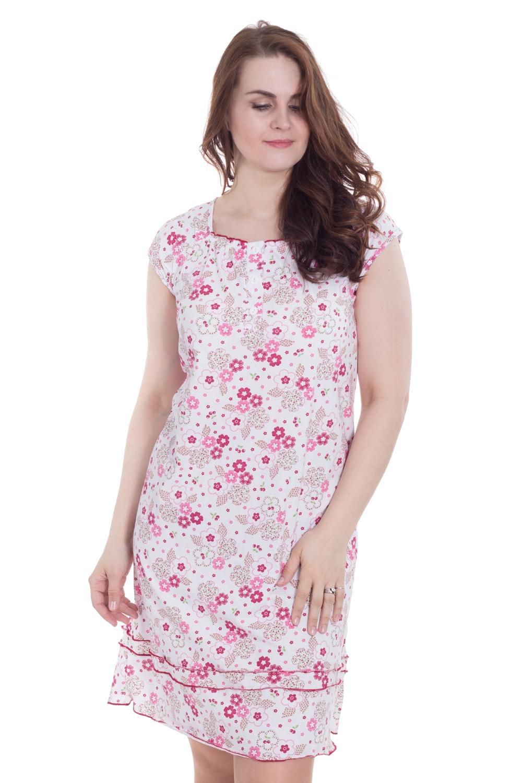 СорочкаНочные сорочки<br>Замечательная женская ночная сорочка с короткими рукавами из приятного хлопка.  Цвет: белый, розовый  Рост девушки-фотомодели 180 см.<br><br>Горловина: С- горловина<br>По длине: Миди<br>По материалу: Хлопковые<br>По рисунку: Растительные мотивы,С принтом (печатью),Цветные<br>По силуэту: Приталенные<br>По стилю: Повседневные<br>По элементам: С декором<br>По сезону: Всесезон<br>Размер : 50<br>Материал: Хлопок<br>Количество в наличии: 1