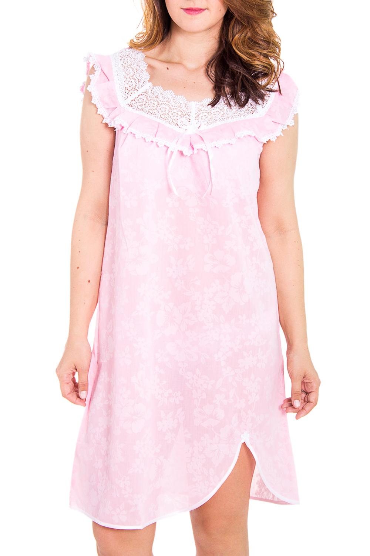 СорочкаНочные сорочки<br>Великолепная ночная сорочка из нежной ткани с декором из гипюра.  Цвет: розовый, белый  Рост девушки-фотомодели 180 см<br><br>По материалу: Кружево,Хлопок<br>По рисунку: Цветные,Цветочные,С принтом<br>По форме: Сорочки<br>По сезону: Всесезон<br>По силуэту: Свободные<br>По длине: До колена<br>По стилю: Повседневный стиль<br>Размер : 50,58,62<br>Материал: Хлопок<br>Количество в наличии: 3