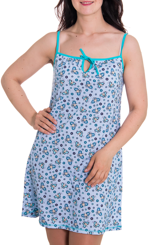 СорочкаНочные сорочки<br>Женская сорочка без рукавов. Домашняя одежда, прежде всего, должна быть удобной, практичной и красивой. В сорочке Вы будете чувствовать себя комфортно, особенно, по вечерам после трудового дня.  Цвет: голубой  Рост девушки-фотомодели 180 см<br><br>По рисунку: Цветные,С принтом<br>По силуэту: Свободные<br>По форме: Сорочки<br>По элементам: Без рукавов<br>По сезону: Лето<br>По длине: До колена<br>По материалу: Хлопок<br>По стилю: Повседневный стиль<br>Размер : 50<br>Материал: Хлопок<br>Количество в наличии: 1