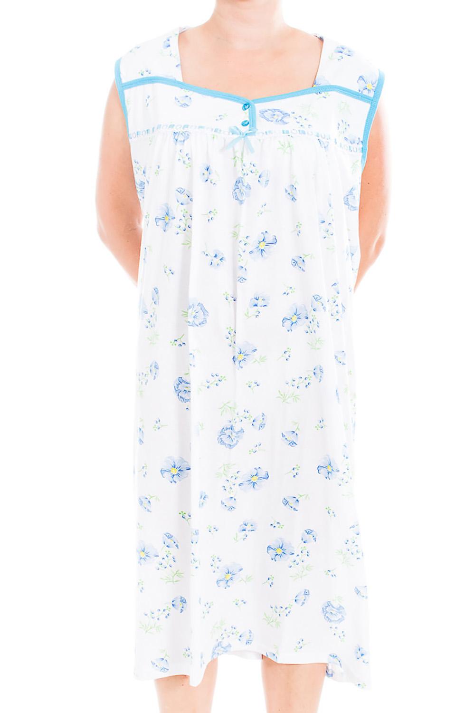 Ночная сорочкаНочные сорочки<br>Качественная ночная сорочка без рукавов. Домашняя одежда, прежде всего, должна быть удобной, практичной и красивой. В наших изделиях Вы будете чувствовать себя комфортно, особенно, по вечерам после трудового дня.  В изделии использованы цвета: белый, голубой  Ростовка изделия 170 см<br><br>По рисунку: Растительные мотивы,Цветные,Цветочные,С принтом<br>По силуэту: Свободные<br>По форме: Сорочки<br>По сезону: Всесезон<br>По длине: До колена<br>По материалу: Хлопок<br>По стилю: Повседневный стиль<br>Размер : 62<br>Материал: Хлопок<br>Количество в наличии: 1