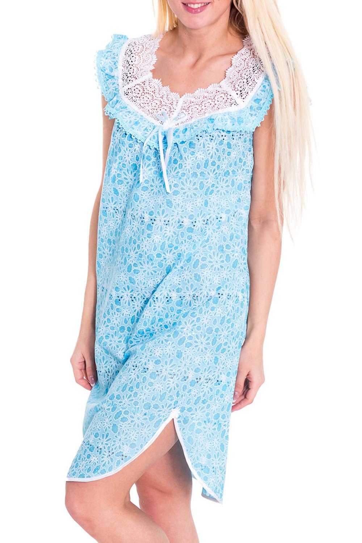 СорочкаНочные сорочки<br>Романтичная ночная сорочка. Домашняя одежда, прежде всего, должна быть удобной, практичной и красивой. В сорочке Вы будете чувствовать себя комфортно, особенно, по вечерам после трудового дня.  Цвет: голубой, белый  Рост девушки-фотомодели 170 см.<br><br>По материалу: Кружево,Хлопок<br>По рисунку: Цветные<br>По силуэту: Свободные<br>По форме: Сорочки<br>По элементам: Без рукавов<br>По сезону: Всесезон<br>По длине: До колена<br>По стилю: Повседневный стиль<br>Размер : 46<br>Материал: Хлопок<br>Количество в наличии: 1