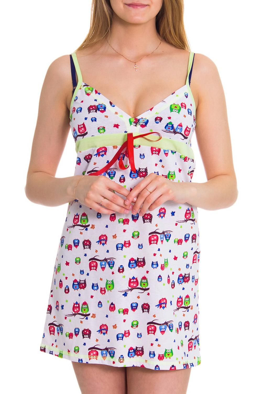 СорочкаНочные сорочки<br>Женская сорочка без рукавов. Домашняя одежда, прежде всего, должна быть удобной, практичной и красивой. В сорочке Вы будете чувствовать себя комфортно, особенно, по вечерам после трудового дня.  Цвет: белый, розовый, голубой, салатовый  Рост девушки-фотомодели 176 см<br><br>По длине: Миди<br>По материалу: Хлопковые<br>По размеру: Маленькие размеры<br>По рисунку: Абстракция,Цветные<br>По силуэту: Свободные<br>По стилю: Возрастные,Классические,Молодежные,Повседневные<br>По форме: Сорочки<br>По элементам: Без рукавов,С декором<br>По сезону: Лето<br>Размер : 44,46,48,50<br>Материал: Хлопок<br>Количество в наличии: 3