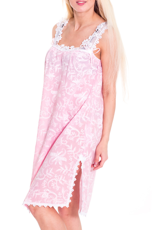 СорочкаНочные сорочки<br>Романтичная ночная сорочка. Домашняя одежда, прежде всего, должна быть удобной, практичной и красивой. В сорочке Вы будете чувствовать себя комфортно, особенно, по вечерам после трудового дня.  Цвет: розовый, белый  Рост девушки-фотомодели 170 см.<br><br>Горловина: С- горловина<br>По материалу: Кружево,Хлопок<br>По рисунку: Цветные,С принтом<br>По силуэту: Свободные<br>По форме: Сорочки<br>По элементам: Без рукавов<br>По сезону: Всесезон<br>По длине: До колена<br>По стилю: Повседневный стиль<br>Размер : 44,46<br>Материал: Хлопок<br>Количество в наличии: 2