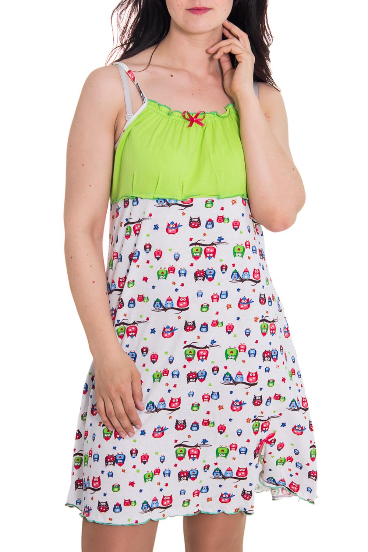 СорочкаНочные сорочки<br>Женская сорочка без рукавов. Домашняя одежда, прежде всего, должна быть удобной, практичной и красивой. В сорочке Вы будете чувствовать себя комфортно, особенно, по вечерам после трудового дня.  Цвет: белый, зеленый  Рост девушки-фотомодели 180 см<br><br>По силуэту: Свободные<br>По форме: Сорочки<br>По сезону: Лето<br>По длине: До колена<br>По материалу: Хлопок<br>По стилю: Повседневный стиль<br>По рисунку: С принтом,Цветные<br>По элементам: С декором,С разрезом<br>Размер : 46,50<br>Материал: Хлопок<br>Количество в наличии: 2